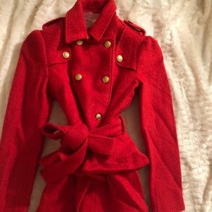 Bebe boiled wool red trench coat make offer!!